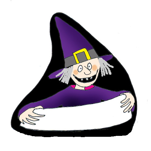 witch with sign as place card for halloween