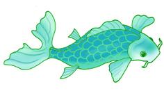blue-green koi fish drawings