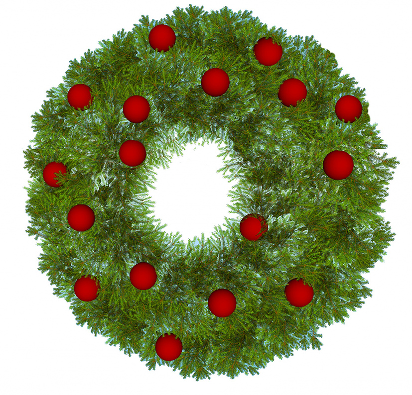 xmas wreath with red baubles