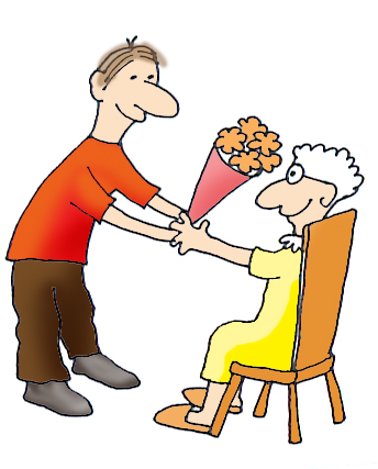 mothers day clip art sweet old mother son flowers