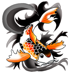 orange black koi fish black waves