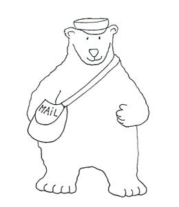 mailman polar bear sketch clip art