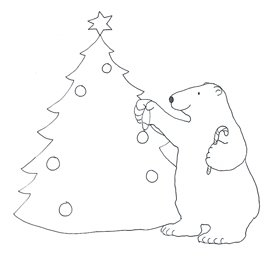 polar bear decorating Christmas tree sketch