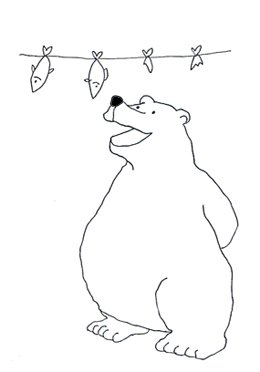 polar bear clip art with fish