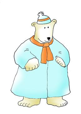 polar bear with warm coat clipart