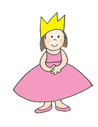 small princess with pink dress and crown
