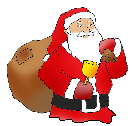 santa claus with sack and christmas bell