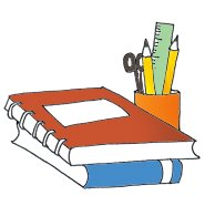 school clipart books pencils color