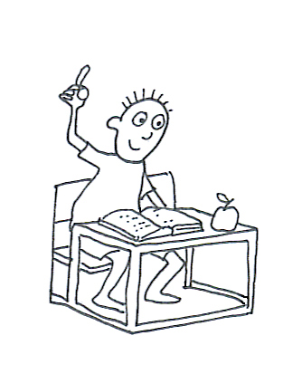 school clipart boy table apple book
