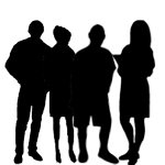 silhouettes of four people