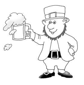 Sketch leprechaun with beer