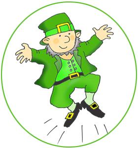 dansing leprechaun in green cirkle