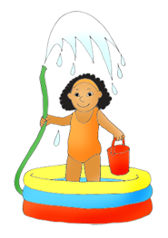 summer clip art girl with pool and water