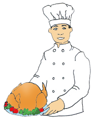 chef with Thanksgiving dinner