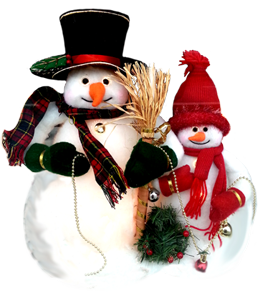 two snowmen wishing you happy holiday