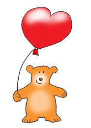 Valentines day hearts bear with heart balloon