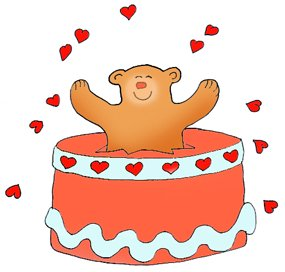Valentine bear in cake with hearts