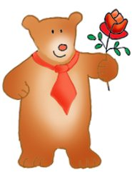 Valentine bear with rose