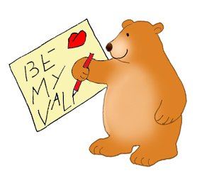 Valentine bear writing Valentine letter heart