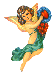 Valentine angel with red roses and love heart