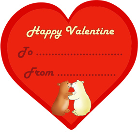 happy Valentine with kissing bears red heart
