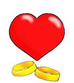 love heart wedding rings
