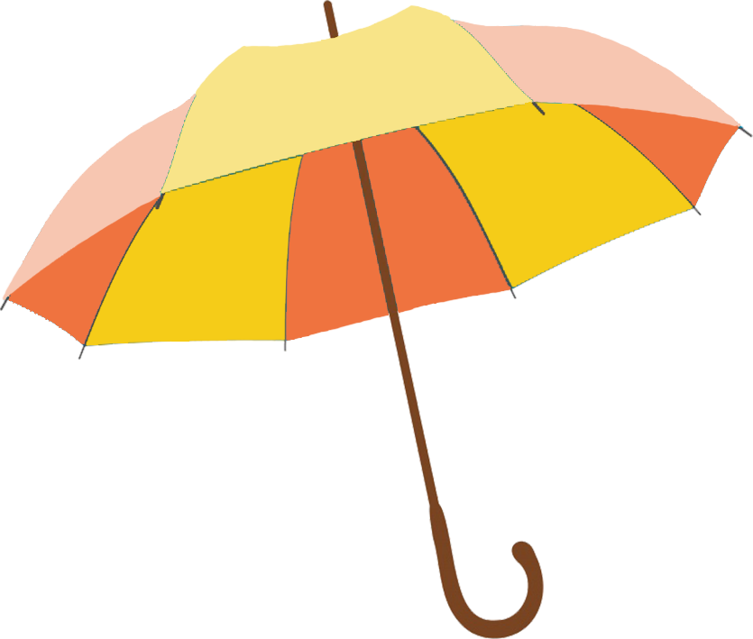 yellow and orange umbrella clipart PNG