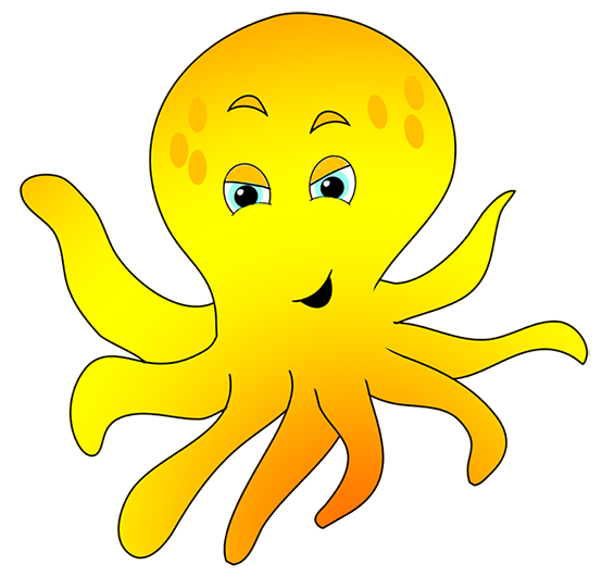 octopus clipart yellow cartoon