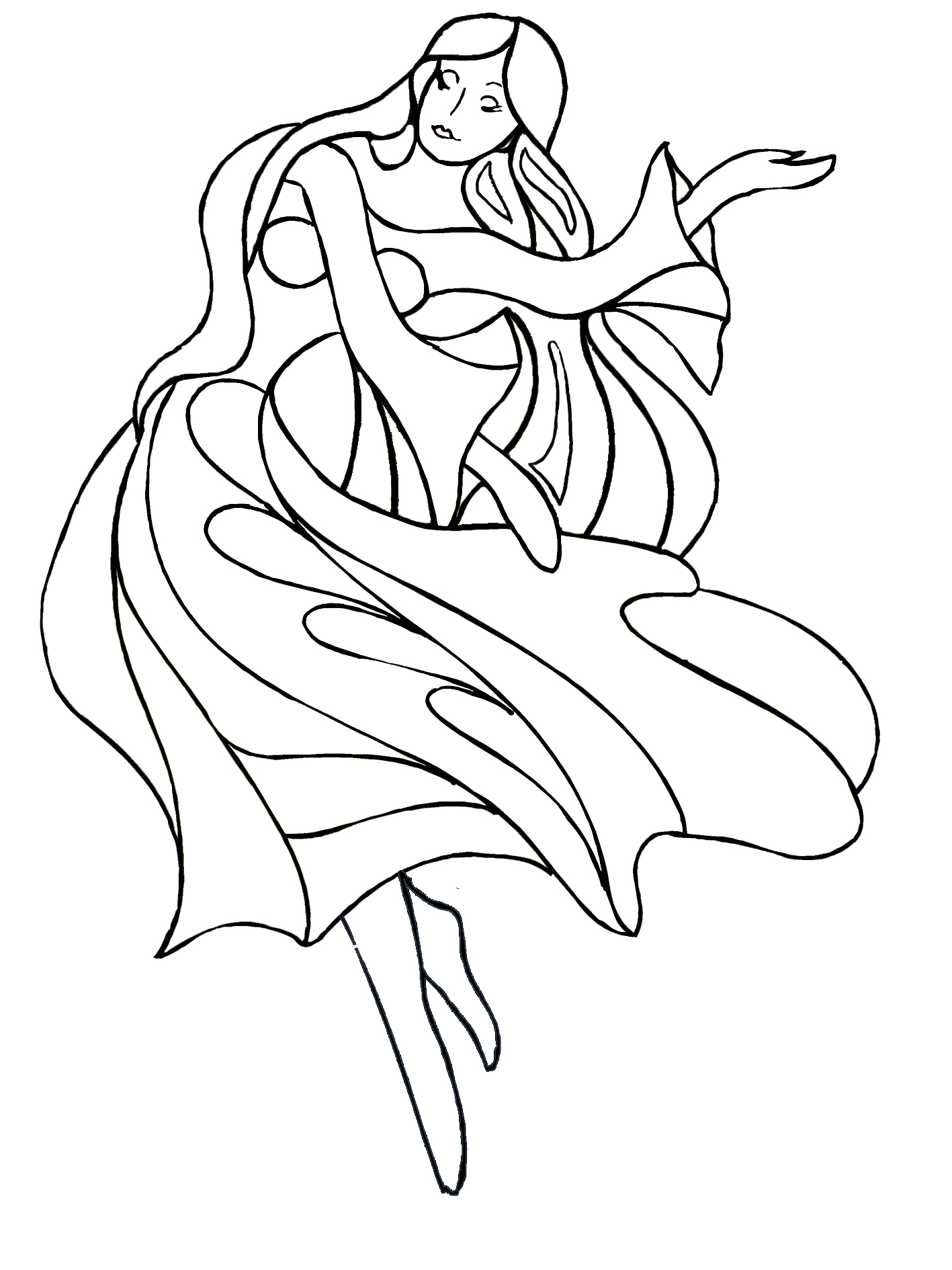 young girl dancing coloring sheet
