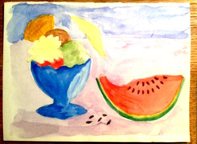 Summer drawing with icecream and watermelon
